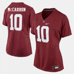 Red College Football #10 A.J. McCarron Alabama Jersey For Women 735379-691
