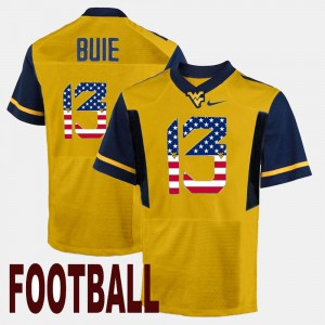 US Flag Fashion Andrew Buie WVU Jersey Men Gold #13 175866-925