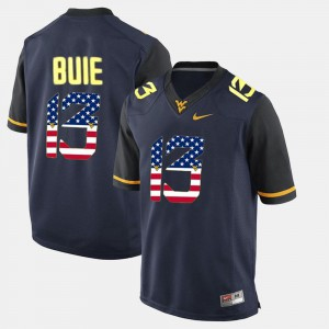 Andrew Buie WVU Jersey Men #13 US Flag Fashion Navy Blue 461022-952
