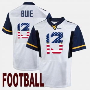 For Men Andrew Buie WVU Jersey #13 White US Flag Fashion 270970-521