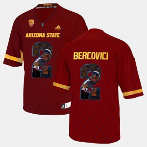 #2 For Men Mike Bercovici ASU Jersey Red Player Pictorial 461962-810