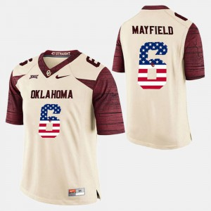 Baker Mayfield OU Jersey #6 For Men White US Flag Fashion 790572-493