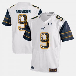 C.J. Anderson Cal Bears Jersey White #9 For Men's Player Pictorial 729822-822