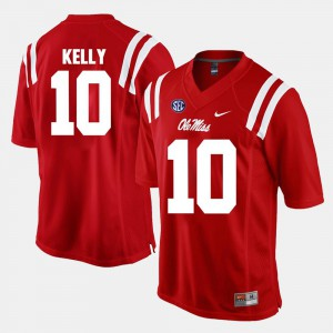 Men's #10 Alumni Football Game Red Chad Kelly Ole Miss Jersey 486650-166
