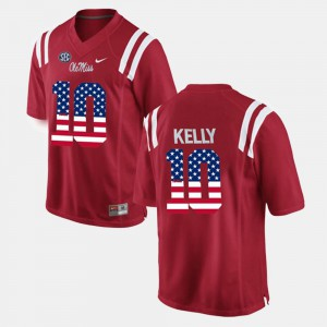 Red US Flag Fashion Mens Chad Kelly Ole Miss Jersey #10 139649-723