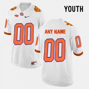 Youth(Kids) Clemson Custom Jersey White #00 College Limited Football 922809-816