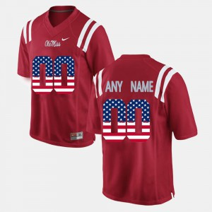 For Men's US Flag Fashion #00 Ole Miss Customized Jersey Red 119953-753