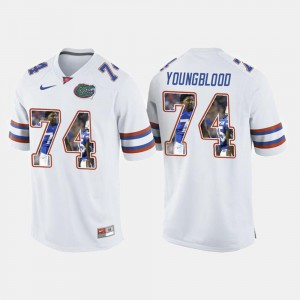 #74 College Football White Jack Youngblood Gators Jersey Men 333168-312