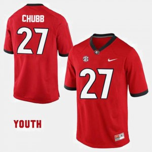 #27 College Football Youth Red Nick Chubb UGA Jersey 206640-362