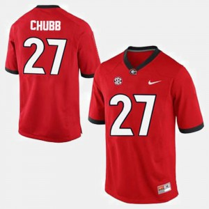 For Men's Red Nick Chubb UGA Jersey #27 College Football 956767-404