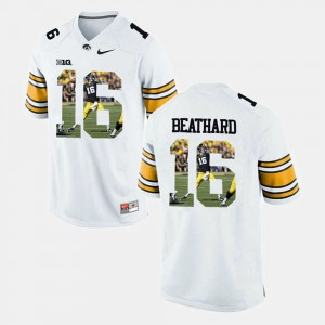 White C.J. Beathard Iowa Jersey #16 Player Pictorial For Men's 202397-111
