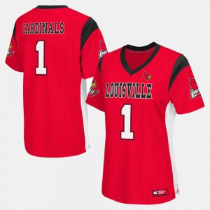 College Football Ladies Louisville Jersey Red #1 159748-694