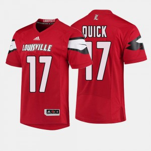 #17 College Football James Quick Louisville Jersey For Men Red 789908-484