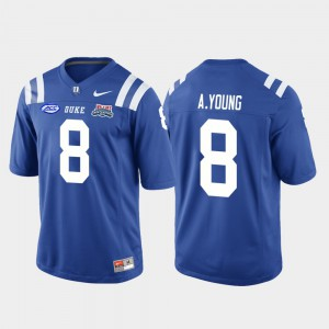 Aaron Young Duke Jersey Royal College Football Game Mens #8 2018 Independence Bowl 473122-737