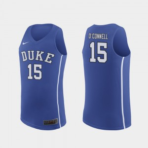 Men Alex O'Connell Duke Jersey #15 March Madness College Basketball Authentic Royal 397218-489