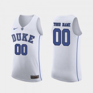 White For Men's March Madness College Basketball Authentic #00 Duke Custom Jersey 604222-261