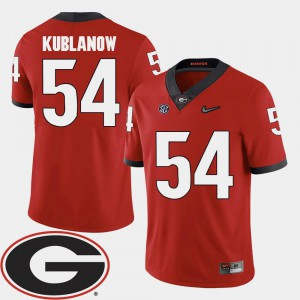 Brandon Kublanow UGA Jersey 2018 SEC Patch College Football #54 Red Mens 889784-957