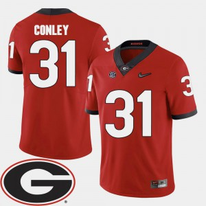 Red For Men College Football Chris Conley UGA Jersey 2018 SEC Patch #31 483708-510