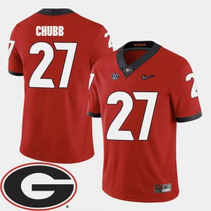 Red #27 Men Nick Chubb UGA Jersey College Football 2018 SEC Patch 226973-277