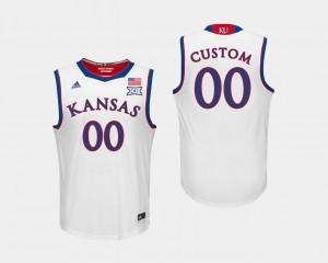 College Basketball #00 KU Customized Jersey For Men's White 881402-486