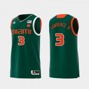 Swingman College Basketball Replica #3 Anthony Lawrence II Miami Jersey Green For Men 408468-958