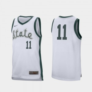 #11 Aaron Henry MSU Jersey For Men's White College Basketball Retro Performance 745313-309