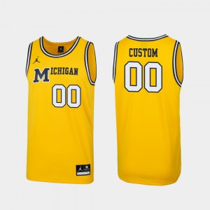 Replica Michigan Customized Jersey For Men Maize #00 1989 Throwback College Basketball 392299-599