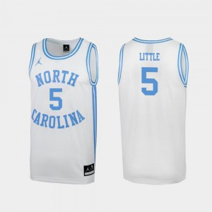 Nassir Little UNC Jersey Mens #5 White March Madness Special College Basketball 411537-648
