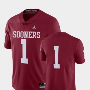 Limited #1 Crimson Mens College Football OU Jersey 694785-459