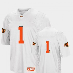 Colosseum 2018 #1 For Men College Football Oklahoma State Jersey White 846539-234