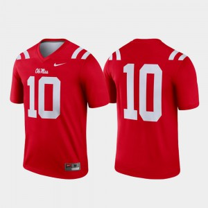 #10 Legend Mens College Football Ole Miss Jersey Red 612944-369