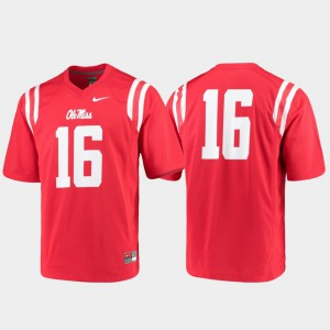 For Men Ole Miss Jersey Game College Football Red #16 216534-712