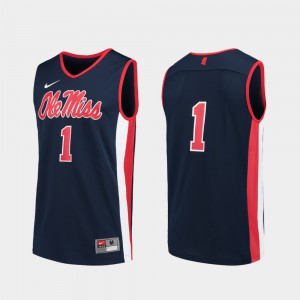 #1 Replica Navy Mens College Basketball Ole Miss Jersey 921504-394