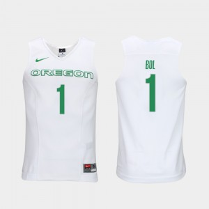 Bol Bol Oregon Jersey Elite Authentic Performance College Basketball For Men Authentic Performace #1 White 722679-456