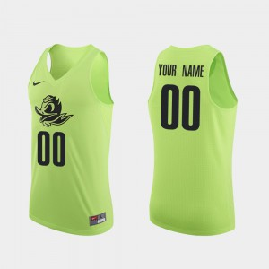 #00 College Basketball Authentic Apple Green Mens Oregon Customized Jersey 596552-787