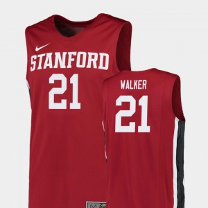 College Basketball #21 Cameron Walker Stanford Jersey Mens Red Replica 164426-798