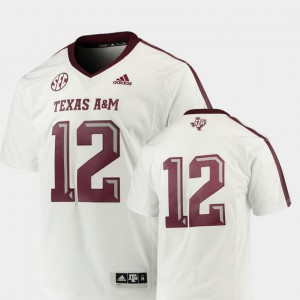 White #12 Premier College Football Texas A&M Jersey For Men's 844037-736