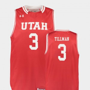 Replica For Men's #3 Donnie Tillman Utah Jersey College Basketball Red 187719-808