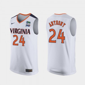 #24 Marco Anthony UVA Jersey For Men White 2019 Final-Four Replica 853292-916