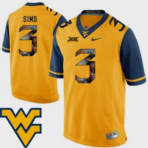 Charles Sims WVU Jersey Pictorial Fashion Mens Football #3 Gold 823770-373
