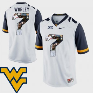 #7 Pictorial Fashion Mens White Daryl Worley WVU Jersey Football 181098-261