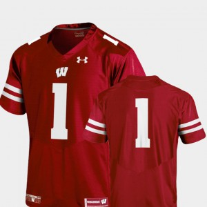 For Men #1 College Football Wisconsin Jersey Red Team Replica 238032-853