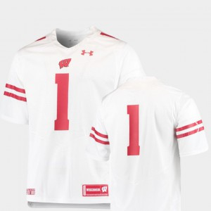 #1 Team Replica White College Football For Men's Wisconsin Jersey 519392-122