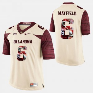 #6 Player Pictorial For Men Baker Mayfield OU Jersey White 262988-857