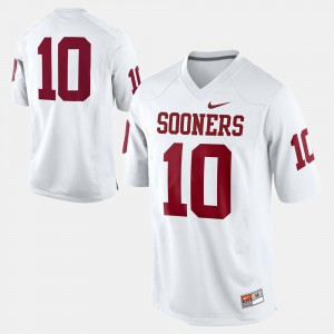 #10 White College Football For Men's OU Jersey 120138-786