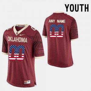OU Customized Jerseys #00 For Kids US Flag Fashion Red 457344-734