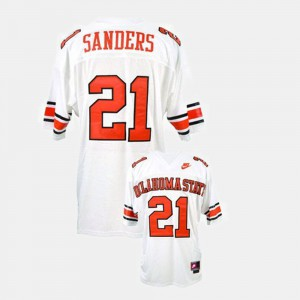 For Men College Football #21 White Barry Sanders Oklahoma State Jersey 730065-842