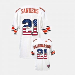 For Men's Barry Sanders Oklahoma State Jersey #21 Throwback White 412450-896