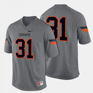 College Football Gray #31 Men's Oklahoma State Jersey 203725-360