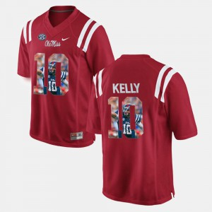 #10 Red Player Pictorial Mens Chad Kelly Ole Miss Jersey 828880-317